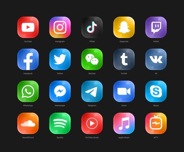Set of popular social media logos