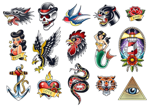 Set of popular traditional tattoo symbols isolated on white. eps10 vector illustrations.