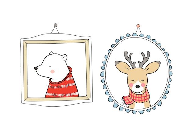 Set portrait deer and bear in vintage frame for autumn