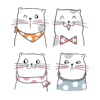 Set portrait funny cat with Doodle style