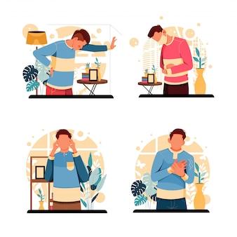 Set of portrait of sick men. flat design concept. illustration
