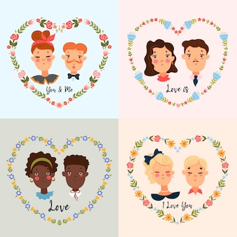 Set of portraits of cute couples. valentine s day mood.