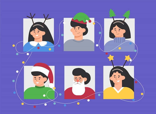 Set portraits of a group of people in christmas costumes party with garlands.