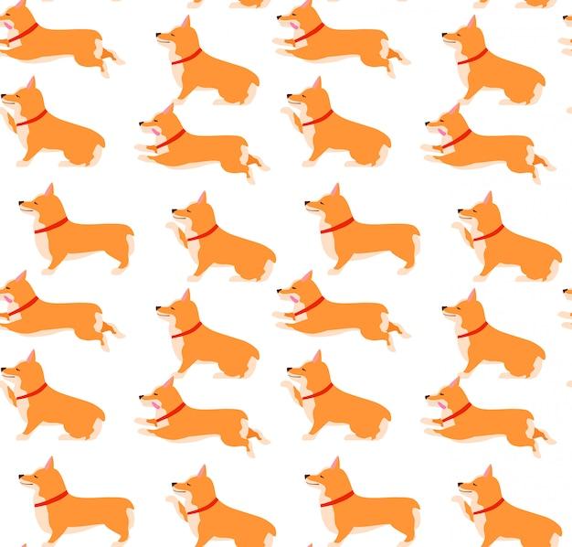 Set of poses and emotions dog seamless pattern. welsh corgi set.