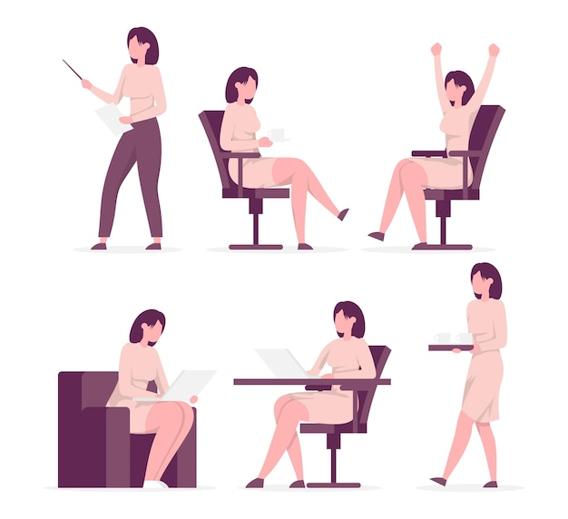 Set of poses standing businesswoman with different emotions and expressions side view