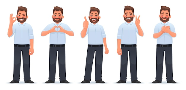 Set of positive and approving gestures happy man shows gesture of gratitude okay cool heart victory