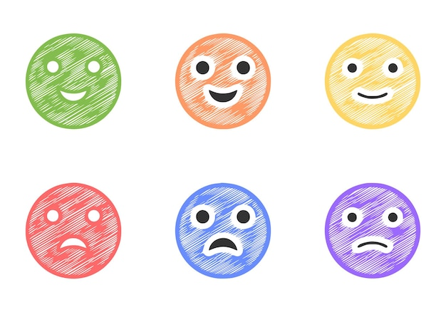 Set of positive and negative emoticons in scribble, style vector clip art