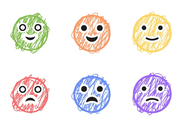 Set of positive and negative emoticons in scribble style, vector clip art
