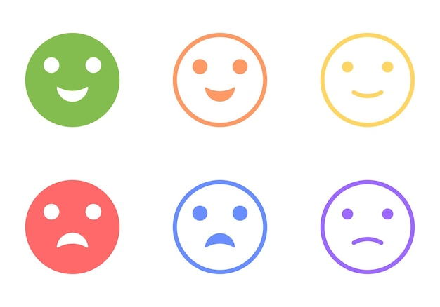 Set of positive and negative emoticons, vector clip art