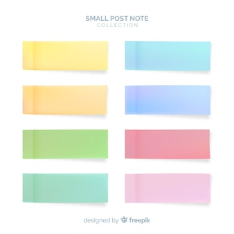 Set of post notes in realistic style
