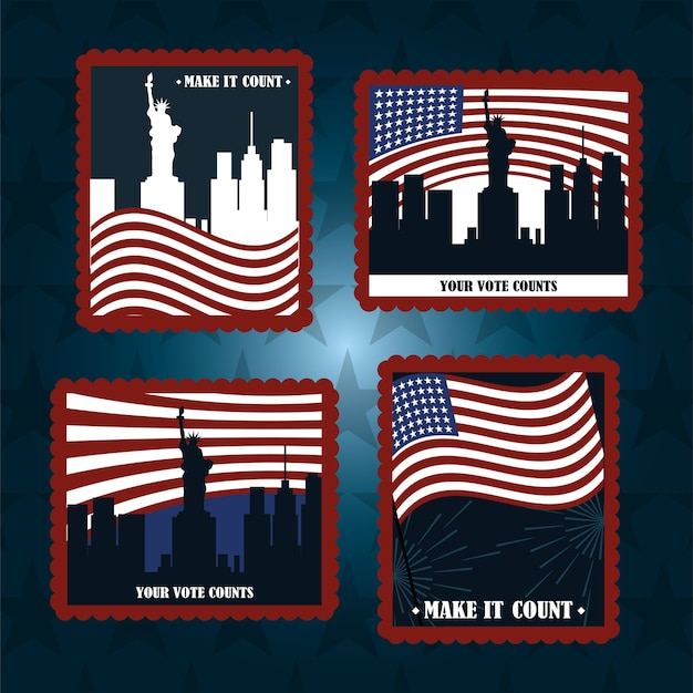 Set post stamp american flags city ny your vote counts, politics voting and elections usa, make it count illustration