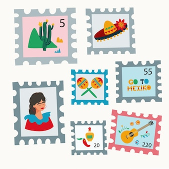 Set of postage stamps with drawings in mexican style sombrero marocas cactus tequila pepper