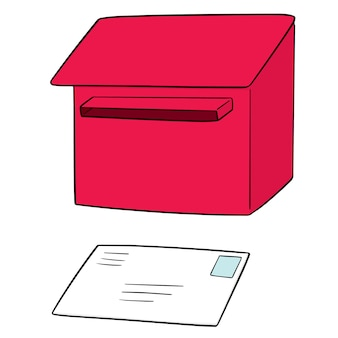 Set of postbox and envelope