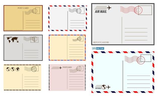 Set of postcard blank template or postal greeting card vintage or christmas holiday postal card Premium Vector