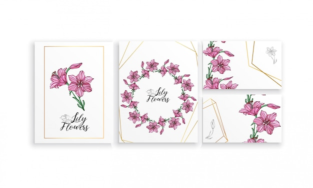 Set of postcards posters with lily flowers