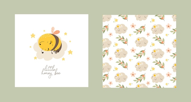 Set of postcards with a cute bee