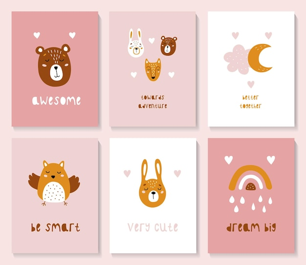 A set of postcards with a cute forest animals.