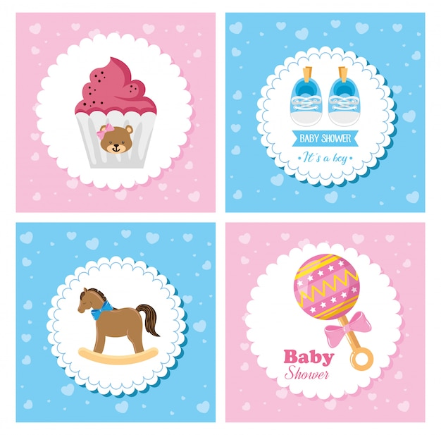 Set poster of baby with cute decoration