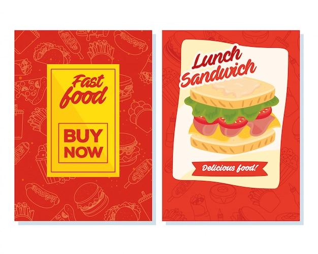 ポスターファーストフードを今すぐ購入してサンドイッチを設定
