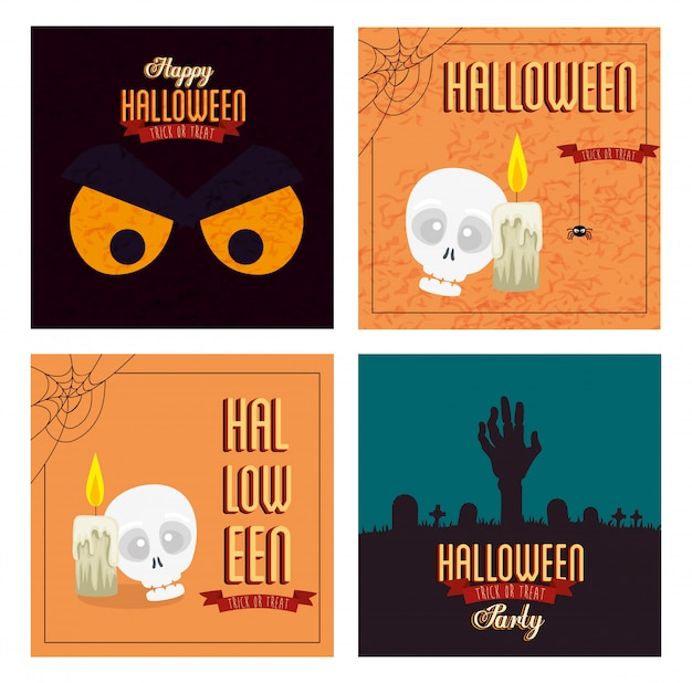 Set poster of happy halloween with decoration
