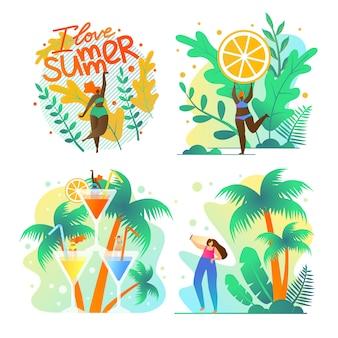 나는 여름 과일과 이국적인 사랑 포스터를 설정합니다.