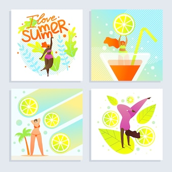 Set poster i love summer inscription cartoon flat
