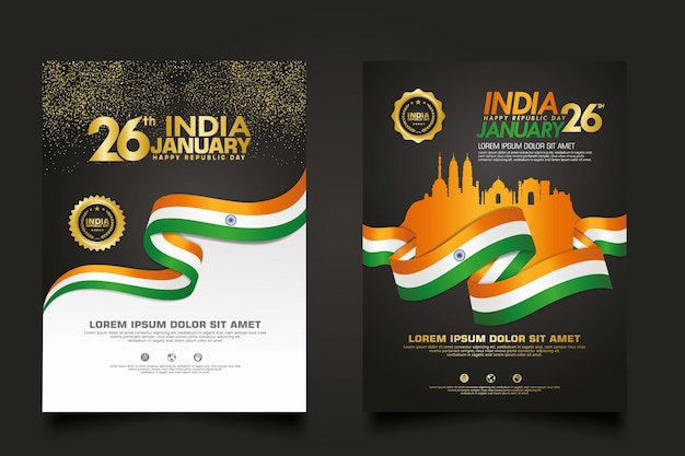 Set poster india happy republic day template.