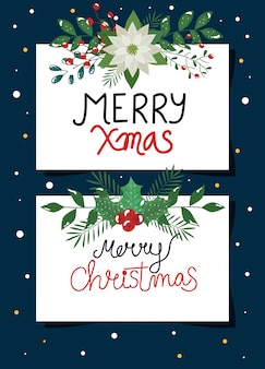 Set of poster of merry christmas with flowers and leafs
