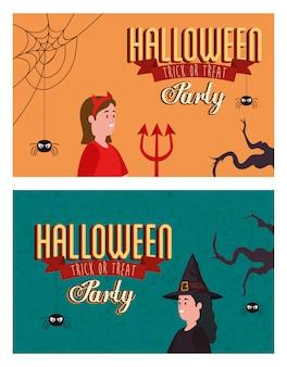 仮装した女性とハロウィーンのパーティーのポスターを設定します。