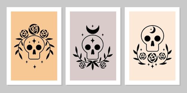 초승달, 장미 꽃, 나뭇잎 가지, 별이 있는 해골 마법 기호 밀교 마녀 문신의 포스터를 설정합니다. 벡터 평면 신비한 빈티지 그림입니다. 포스터, 카드, 전단지, 타로 디자인