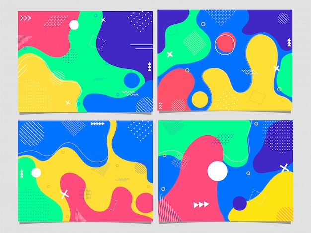 Set of poster or template, flyer  with colorful abstract fluid art .