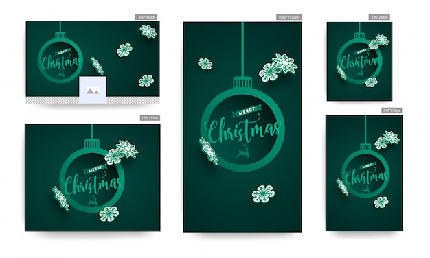 Set of poster and template with merry christmas text in hanging baubles shape frame and paper snowflakes decorated on green background.