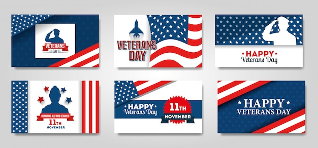 Set poster of veterans day celebration banner set