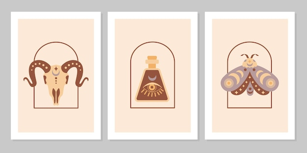 Set poster with magic symbols esoteric witch tattoos. collection of glass bottle, moth, goat on arch. vector flat mystic vintage illustration. design for poster, card, flyer