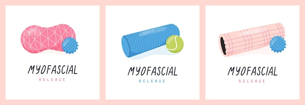 Set of poster with myofascial release exercise or pilates foam roller and trigger point ball
