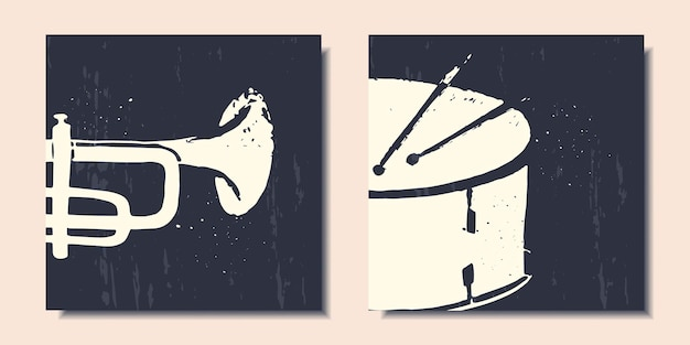 Set of posters abstract musical instruments such as saxophone and drum
