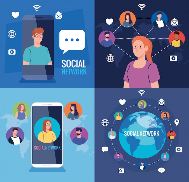 Установите плакаты социальных сетей, людей, подключенных в цифровом формате, интерактивных, коммуникационных и глобальных концепций.