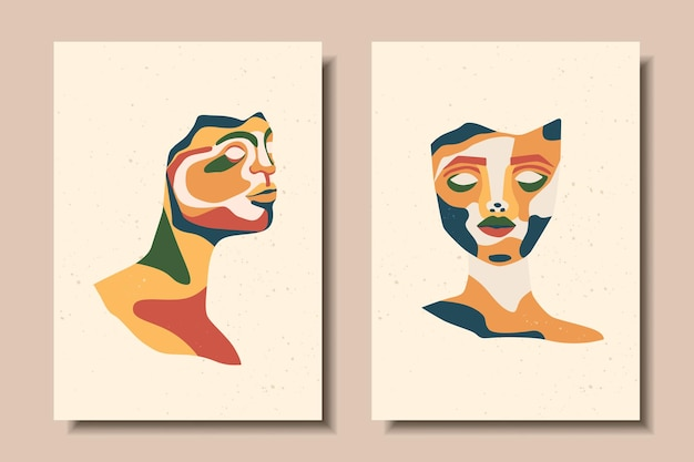 Set of posters with abstract portraits sculpture portrait modern art