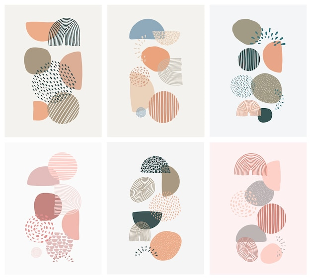 Set of posters with abstract shapes