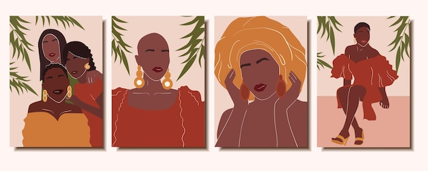Set of posters with beautiful abstract african women