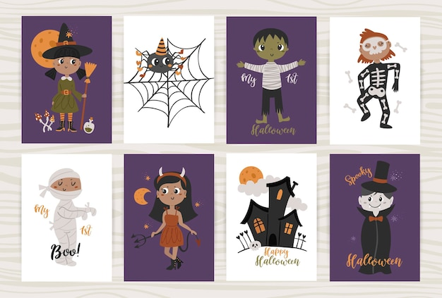 Set of posters with  children in costumes