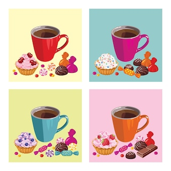 Set of posters with cup of tea and sweets.