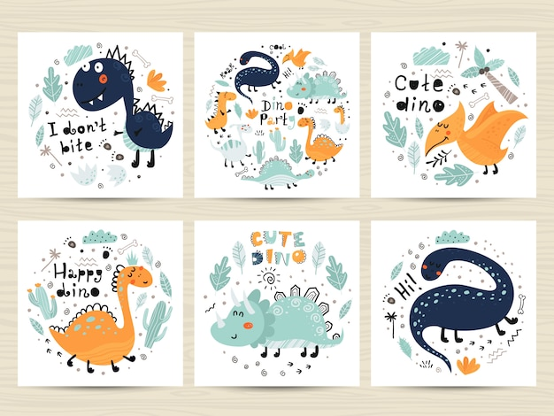Set of posters with cute dinosaurs and letterings.