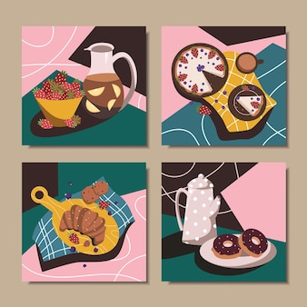 Set of posters with different abstract still lifes