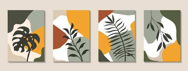 Set of posters with elements of tropical leaves and abstract shapes