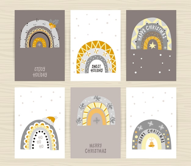 Set of posters with festive shiny rainbows and inscriptions. perfect for kids bedroom, invitation cards, posters and wall decorations