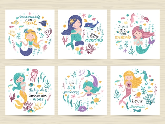 Set of posters with mermaid, sea animals and lettering