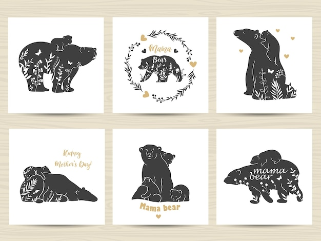 Set of posters with mother bears and babies.