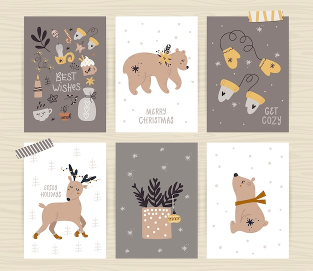 Set of posters with tree, cute animals and inscriptions.