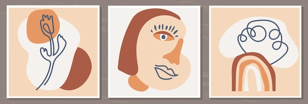 Set of posters with a womans portrait and abstract compositions of rainbows and flowers